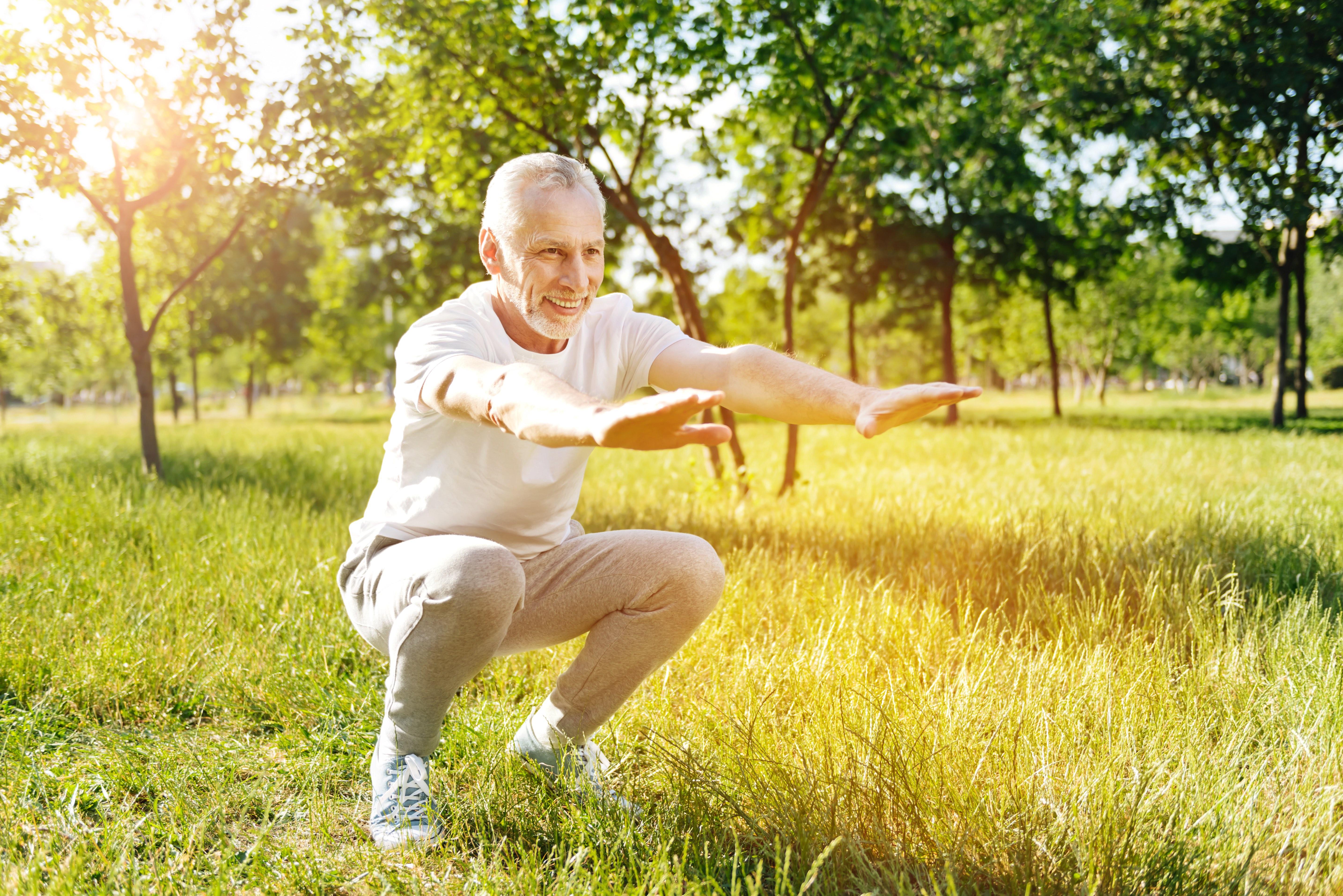 Senior Fitness Exercise Squat Elderly Outdoors Low Res